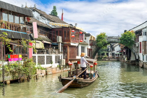 China traditional tourist boats on canals of Shanghai Zhujiajiao