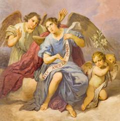 Fototapeta Do kościoła ROME, ITALY - MARCH 9, 2016: The fresco of angels in church Chiesa di Santa Maria in Aquiro (Our Lady of Lourdes chapel) by Domenico d Alessandro (1865).