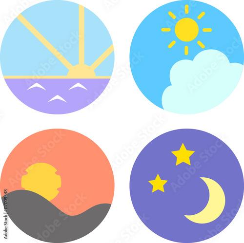 朝、昼、夕方、夜のアイコン Poster