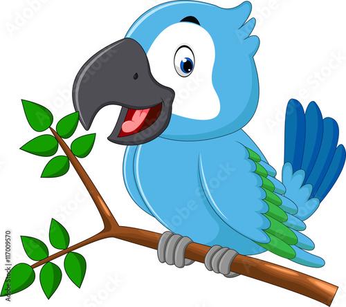 Photo illustration of cute macaw cartoon