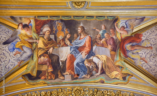 Valokuva  ROME, ITALY - MARCH 9, 2016: The detail of vault fresco Mary Washes Jesus's Feet in church Chiesa di Santa Maria Maddalena in Campo Marzio by Michelangelo Cerruti (1663 - 1749)