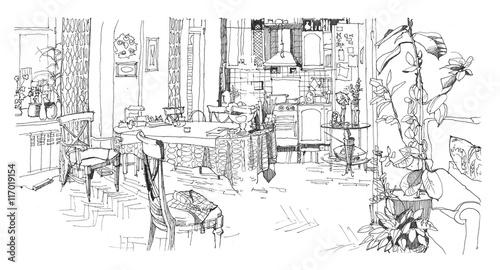 Photo sur Toile Drawn Street cafe Sketch of a kitchen