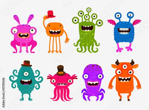Deurstickers Fun cute cartoon monsters. Set icons vector illustration
