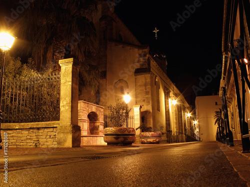 Fotobehang Volle maan Old street at night