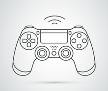 Simple Vector Gamepad Icon. Joypad, Joystick Illustration