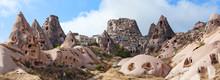 Panorama Of Uchisar Castle In Cappadocia, Turkey