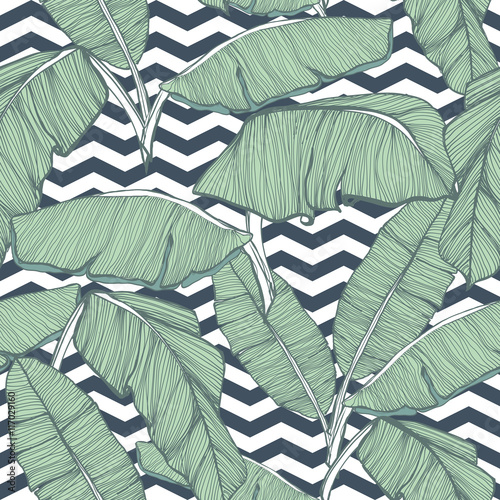 Cotton fabric Tropical palm leaves seamless background