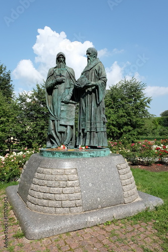 Poster Monument Dmitrov, Russia - July 29, 2016: The monument to Cyril and Methodius in the Dmitrov Kremlin
