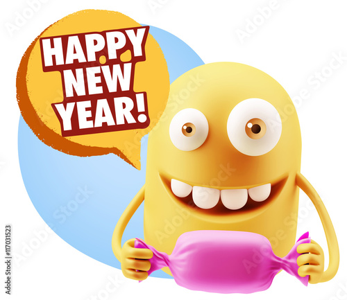 candy gift emoticon face saying happy new year wit