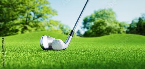 Deurstickers Golf Golfball mit Schläger