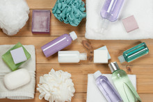 Toiletry Set. Soap Bar And Liquid. Shampoo, Shower Gel, Body Mil
