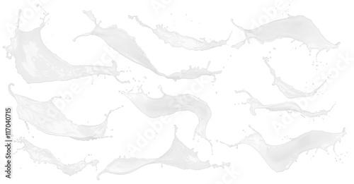Fotografie, Obraz  Collection set of white milk / color splashes isolated on white background / Sam