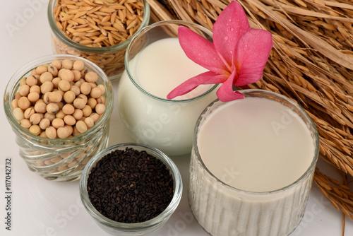 Obraz na plátne Soybean milk, soy, Black Sesame Seeds and Germinated brown rice (GABA), a health