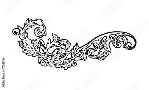 Poster Sprookjeswereld Vintage floral design element. Decorative element at engraving style.