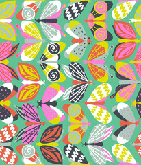 Fototapeta Motyle Seamless pattern with beautiful bright butterflies