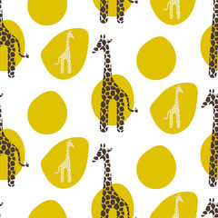 FototapetaGiraffe vector seamless pattern. Giraffe brown and white texture stains. Safari wild animal background with green spots for baby kid apparel.