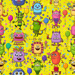Fototapeta Koktajle Seamless Background for Your Holiday Party Design with Different Cartoon Monsters, Colorful Tile Pattern with Cute Funny Characters, Feasting with Balloons, Sparklers and Cocktails. Vector