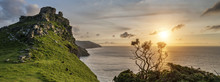 Panorama Sunset Landscape Of Valley Of The Rocks In Devon Englan