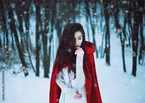Fotografía  Red Riding Hood lost in the mystical snow-covered forest,fantastic shooting,fash