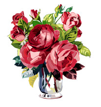 Pink Roses In Transparent Glass Vase. Wedding Drawing. Greeting Card. Flower Backdrop. Vector Hand Drawn Illustration.
