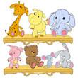 Children's toys on the shelf. Giraffe, hippopotamus, elephant, pig, hedgehog, hare, bear. Plush animals