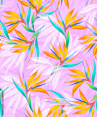 Cotton fabric watercolor bird of paradise tropical seamless pattern.