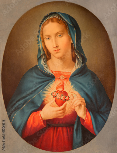BRESCIA, ITALY - MAY 22, 2016: The old printed image of Heart of Virgin Mary in Chiesa di San Pietro in Olvieto from end of 19. cent. by unknown artist. - 117066316