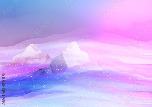 Foto op Plexiglas Purper Smooth Blurred Mountain Landscape - Vector Illustration