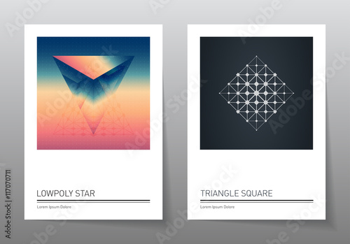 Photo  Abstract geometry backgrounds set. A4 format, vector templates.