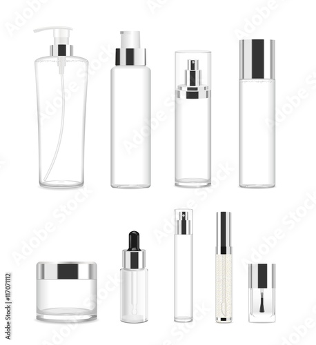 Fotografía  Set of nine transparent cosmetic tubes. Vector