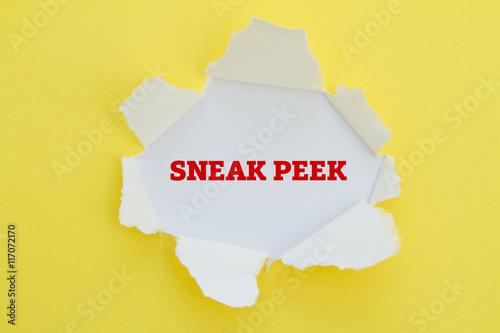 Fotografia, Obraz  SNEAK PEEK word written under torn paper.