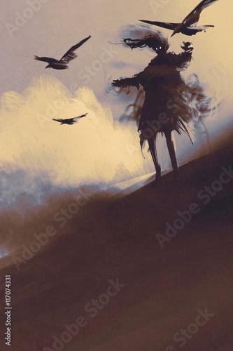 Foto  Geist mit fliegenden Krähen in der Wüste, Illustration, digitale Malerei