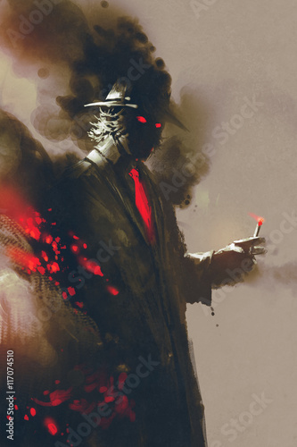Fotografering  Mysterious man with hat holding a cigarette,illustration,digital painting