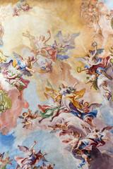Fototapeta Do kościoła BRESCIA, ITALY - MAY 23, 2016: The Glory of Santa Eufemia fresco on the wault of presbytery of Sant'Afra church by Antonio Mazza (18. cent.) by Antonio Mazza and Carlo Innocenzo Carloni.