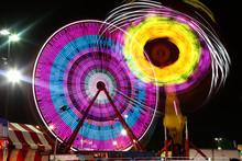 Fair Rides Shot With A Long Exposure At Night