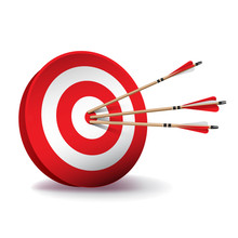 Red Archery Target With Arrows...