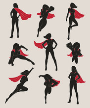 Set Of Female Superhero. Black...