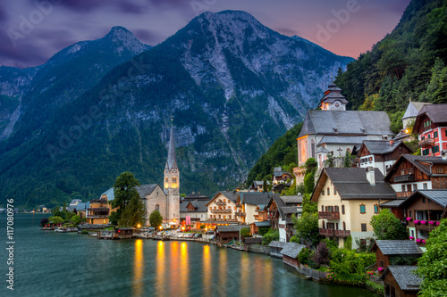 Hallstatt village in Alps and lake at dusk, Austria, Europe