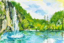 Watercolor Landscape With Waterfall And Lake. Summer And Spring Nature. Green Forest With Blue Sky And Fast Stream.