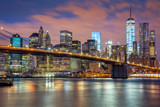 Fototapeta New York - New York City - great illumination and colorful clouds