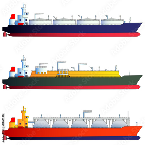 Photo  Oil tanker and gas tankers, LNG carriers. Vector illustration