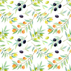 Panel Szklany Owoce Seamless floral pattern with berries and olives.