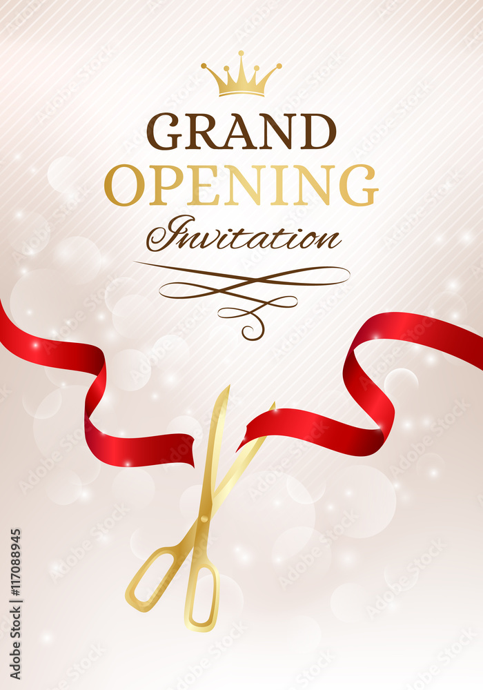 Photo Art Print Grand Opening Invitation Card With Cut Red