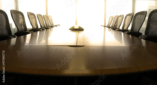 Photo Table boardroom with chair in morning / meeting associate