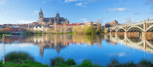 Foto op Plexiglas Monument Salamanca - The Cathedral and bridge Puente Enrique Estevan Avda and the Rio Tormes river.