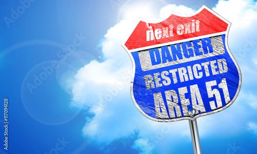 Fototapeta obszar 51 znak, renderowania 3D, niebieski znak ulicy