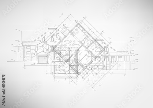 Abstract architectural drawings. - fototapety na wymiar