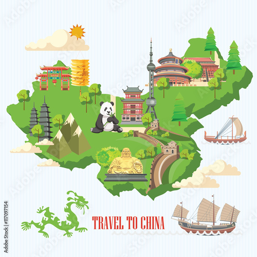 Poster Castle China travel vector illustration. Chinese set with architecture, food, costumes, traditional symbols in vintage style. Chinese text means China