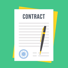 Contract Document With Rubber Stamp And Pen. Sign Contract Concept. Flat Style Design Vector Illustration