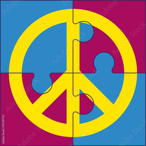 Puzzles Of Peace Symbol Sign For International Peace Day On